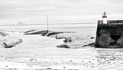 Channel-Markers- (petefoto) Tags: channel navigation markers harbourentrance paimpol brittany seamist lighthouse sand tide nikond810 leefilters bwnd106filter longexposure breakwater france cotesdarmor bretagne hiver port mud buoys