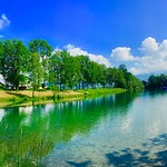 Panorama of lake Kieferer See near the river Inn in Kiefersfelden, Bavaria, Germany thumbnail