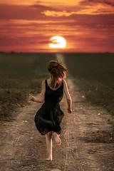 Run Away To The Sun. (FlorianPascual) Tags: ifttt 500px florian pascual girl sunset sun sunlight road colors model run sundown dress pathway montpellier runaway meze florianpascual
