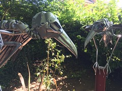 Said goodbye to my Raven Skeletons yesterday. I Installed them permanently at a private residence  #raven #skeleton  #nevermore  #birds #metalsculpture  #hubcapcreatures #repurposed #scrapart #sculpture #art #recycled #upcycled (ptolemye) Tags: raven skeleton nevermore birds metalsculpture hubcapcreatures repurposed scrapart sculpture art recycled upcycled