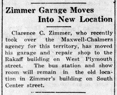 1923 - Zimmer garage moves to Rakaff bldg - Enquirer - 18 Oct 1923