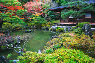 Japanese Garden in Ginkakuji Temple, Kyoto Japan