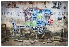 Bombay Banksy? (channel packet) Tags: mumbai india sassoon docks fish market graffit art davidhill
