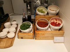 Chillies and greens for condiments (A. Wee) Tags: skyteam lounge hongkong 香港 china 中国 hkia airport 机场 hkg condiment chilli