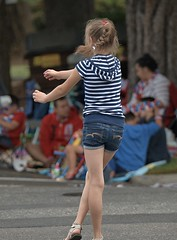 Playing In The Street (Scott 97006) Tags: street play kid girl catch shorts cute