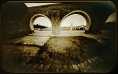 Two arches (batuda) Tags: pinhole obscura stenope lochkamera analog analogue tin altoids mediumformat 6x9 paper ilford ilfospeed d76 11 9950f wide wideangle architecture building house pakruojis manor town arch stone perspective ground human color colour 1820 19thcentury neodymium pakruojo dvaras lithuania lietuva