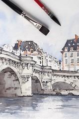 Pont Neuf, Paris (alexhillkurtzart) Tags: watercolor urbansketch paris