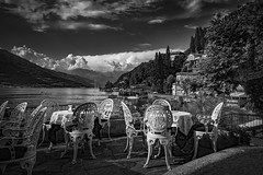 Lago Como (felramferdeo) Tags: sky landscape lake clouds water monochrome bw lago como nature