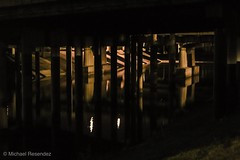 Columns and Reflections (photo.po) Tags: trinityriver texas fortworth ef40mm28stm canont6 canon nightphotography night light darkness availablelight reflections water river columns bridges