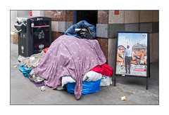 Homeless in London 2018, East London, England. (Joseph O'Malley64) Tags: homelessinlondon2018 homelessinlondon homeless homelessness bereft onthestreet roughsleeping sleepingrough eastlondon eastend london england uk britain british greatbritain politics political ignorance turningablindeye accountability bedding dogowner dogs feedingbowls companions companionship personalpossessions litterbin refusebin cladding stonecladding granite station londonunderground signframe aframe entrance whereisthegovernmentinallthis inwarmweatherthehomelessareinvisible urban urbanlandscape fujix100t accuracyprecision
