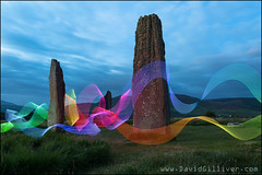 Machrie Moor, Isle of Arran (Pikebubbles) Tags: lightpainting lightpaintingtutorial davidgilliver davidgilliverphotography scotland arran isleofarran machriemoor colours colors colour neon longexposure nightphotography creativephotography creative visitscotland ribbons ribbonoflight ribbon standingstones