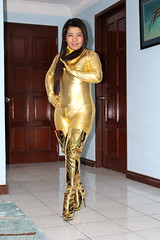 Gold Finger (johnerly03) Tags: erly philippines filipina asian fashion zentai lycra catsuit golden gloves thigh high mirror heel fetish boots long hair