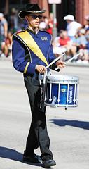 Drummer (wyojones) Tags: wyoming cody codystampede rodeocapitaloftheworld codystampedeparade 4thofjuly fourthofjuly codyhighschool broncmarchingband boy drummer musician march hat uniform drum