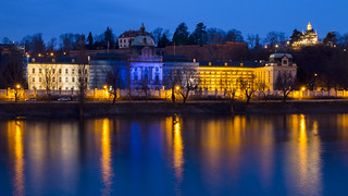 Strakova akademie and Hanavský pavilon at blue hour