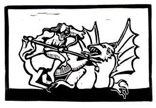 St George & the Dragon - Linocut