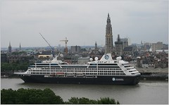 Cruise Ship Azamara   ...  Azamara Club Cruises.  Departure. (Aquarius15) Tags: belgium antwerp cruiseshipazamarajourney azamaraclubcruises ships boats cruise spring clouds sky skyline city architecture riverscheldt water waves reflections trees departure