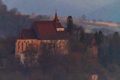 Hilltop with fortified church (Raoul Pop) Tags: churches fortress medieval hilltop evening architecture building towers fall structure historic sighisoara transilvania romania ro