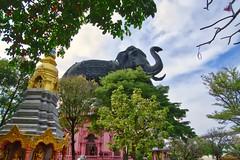 Erawan museum in Samut Phrakan near Bangkok, Thailand (UweBKK (α 77 on )) Tags: erawan museum threeheaded elephant trees garden park samut phrakan bangkok thailand southeast asia sony alpha 77 slt dslr