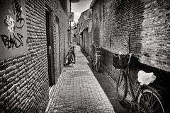 No-Walking, Take A Bike (Alfred Grupstra) Tags: street urbanscene bicycle blackandwhite architecture old city alley outdoors europe italy buildingexterior cultures travel citylife sidewalk narrow house oldfashioned people