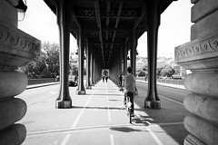 The way I follow (Pascalala) Tags: paris vélo bike nikon nikond610 nikonafs28300f3556edvr street rue pont bridge noiretblanc noirblanc nb blackandwhite blackwhite bw streetphotography streetphoto pistecyclable way pontdebirhakeim birhakeim souslemétro underthesubway metro métro subway subwaystation station
