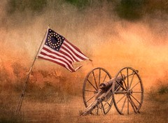 Union Flag And Cannon (Wes Iversen) Tags: americanflags civilwar civilwardays detroit htt historicfortwayne michigan nikkor18300mm texturaltuesday artillery cannons flags texture vintage war