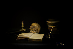vanite (jackyg170) Tags: vanite ambiance crane sombre dark allégorie mort death naturemorte stilllife bougie livres