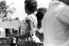 073670 18 (ndpa / s. lundeen, archivist) Tags: nick dewolf nickdewolf july blackwhite photographbynickdewolf bw 1970 1970s monochrome blackandwhite film mexico mexican yucatán yucatan yucatanpeninsula caribbean islamujeres island building village villagelife dock pier waterfront people children kids girls basket dress dresses man youngman youngwoman woman brunette palmtree child girl wickerbasket