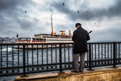 Fishing the Golden Horn (Chas56) Tags: ngc fishing fisherman ferry boat water istanbul turkey goldenhorn sea landscape seascape seaside segulls canon canon7d candid streetphotography port travel
