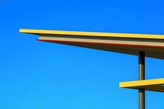 Roof of a patrol station (Jan van der Wolf) Tags: map185218v roof dak lines lijnen lijnenspel interplayoflines playoflines yellow geel red rood