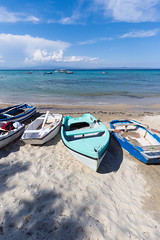 greece (thethomsn) Tags: greece beach boat sea water sky cloud holiday vacation summer sand 1635mm 6dmk2 canon thethomsn idyllic