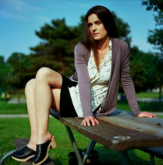 Tricia 2 (neohypofilms) Tags: series model portrait girl lady legs heels platforms wood clogs peeptoe mules hair tall long sexy vintage retro fashion style 70s classic phoptography medium format 120 film hasselblad