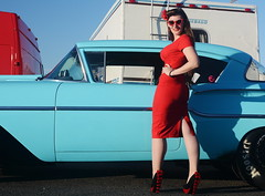 Holly_9211 (Fast an' Bulbous) Tags: classic american chevy chevrolet car vehicle automobile people outdoor pinup model girl woman hot sexy chick babe red wiggle dress tight high heels stockings nylons beauty wife long brunette hair