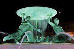 Triton Fountain (Douguerreotype) Tags: fountain green dark night statue city malta urban valletta moon water