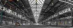 ReparaturWerk-Bahn-sw-c // WORKED-OUT Bahn // Ruhrgebiet DU D // 2018 (MichaelSanderDU) Tags: bahn fotografiker fotokunst industrie industriefotografie landschaft michaelsanderdu workedout