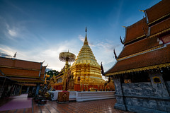 Golden pagoda in Wat Phra That Doi Suthep Temple at sunrise on the top of Doi Suthep mountain in Chiang Mai, Thailand. (MongkolChuewong) Tags: aerial aerialview ancient architecture asia asian background buddha buddhism buddhist chiang chiangmai church cityscape culture decoration destinations doi famous gold golden landmark landscape lanna luxury mai monastery pagoda peace phra place religion religious sky spirituality stupa style sunrise sunset suthep temple thai thailand that tourism tourist traditional travel wat worship