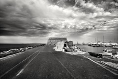 The end of the road (wimkappers) Tags: blackwhitephotos bw monochrome dramatic dramaticsky clouds scenery sea