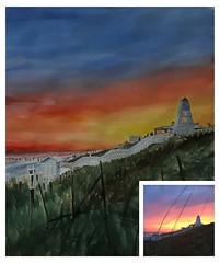 lighthouse sunset oil painting (portraitflip) Tags: portraitflip phototopainting portraitpaintings portrait sunset scerene scenery viewpoint waterpaintings watercolours waterportraits