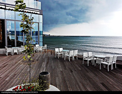 Perfect frame (Vasil Gochev) Tags: sea sky storm picture perfect frame restaurant chairs tables building glass parquet wood modernism day blacksea blue colors furniture water wind air view out photographer shades reflections art photography new