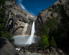 Yosemite Falls Moonbow, Yosemite National Park (stochastic-light) Tags: landscape nightscape night nighttime mountains waterfall moonbow spraybow lunarrainbow yosemite falls yosemitenationalpark nps nationalpark california sierranevada hiking nature summer nikon d810 ziess carlzeiss milvus2821 milvus21 zf2 longexposure le rocks trees cliffs moonlight doi departmentoftheinterior explore explored