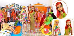 COLOR MAGIC (ModBarbieLover) Tags: color magic barbie mod vintage 1966 1967 redhead blonde midnight stripes orange green pink house fashion doll mattel skipper casey francie