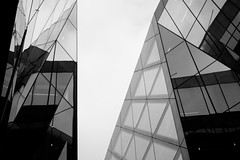 Crystal (James-Palmer) Tags: london england uk gb city urban capital british britain english greatbritain unitedkingdom structure structural structured constructed building built panels glass plate mirrored mirroring abstract engineered engineering architects architecture architectural modernarchitecture new modernist simple geometry geometric geometrical blackandwhite art artwork print monotone onenewchange offices mall shoppingmall centrallondon stpauls sky shadows