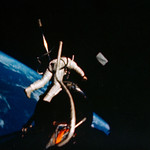 Astronaut Edwin E. Aldrin Jr., pilot of the Gemini-12 spaceflight, performs extravehicular activity. Original from NASA. Digitally enhanced by rawpixel. thumbnail