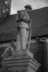 First World War Soldier Tribute (pdyandell) Tags: blackandwhite bwphotography bwphotographylovers canon canon5dmkii canoncamera canonphotography tribute soldier memorial photography streetphotography digital welsh wales street photos