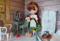 Good morning! (Foxy Belle) Tags: blythe doll dollhouse 16 scale playscale cabin cottage wood wooden ooak repainted barbie furniture spray paint chalk room rustic shabby chic neo joana gentiana 2017 redhead maiden old fashioned bedroom wash stand gnome log window deer