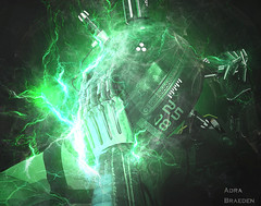 Iron Grip (_Adra Braeden_ *Client List CLOSED*) Tags: helmet cyber fantasy green sparks electric humanoid azoury
