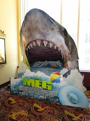 The Meg - megalodon monster shark standee 4927 (Brechtbug) Tags: the meg 2018 film based 1997 science fiction book a novel deep terror by steve alten giant shark movie that has bounced around studios for two decades megalodon monster theater lobby standee amc loews 34th street 14 theatre jaws like summer august holiday ocean creature spooky sea monsters nyc 07072018 new york city midtown west side