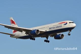 B767: BA428 British Airways Boeing 767 (G-BNWB) from London Heathrow at Schiphol Amsterdam