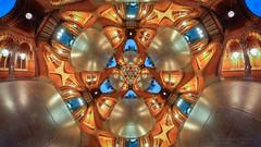 Foyer at Saint Pancras (Lee Rosenbaum) Tags: theta360 england quincuncial 360degree mandala abstract regression panorama droste mathmap railwaystation trainstation mathmatics london hotel saintpancras architecture indoors pattern ricohthetas building