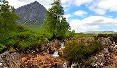 Summer At Buachaille Etive Mor . (Firthy70) Tags: buachailleetivemor glencoe scotland clouds waterfall samsung galaxys6