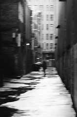 Momentary Solitude (lancekingphoto) Tags: alley rainyday wetpavement city downtown knoxville tennessee thesouth blur konicazup150vp 35mm silberrapan160 xtol